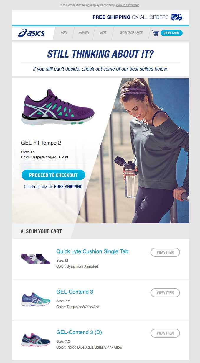 Abandoned Shopping Cart Email from Asics