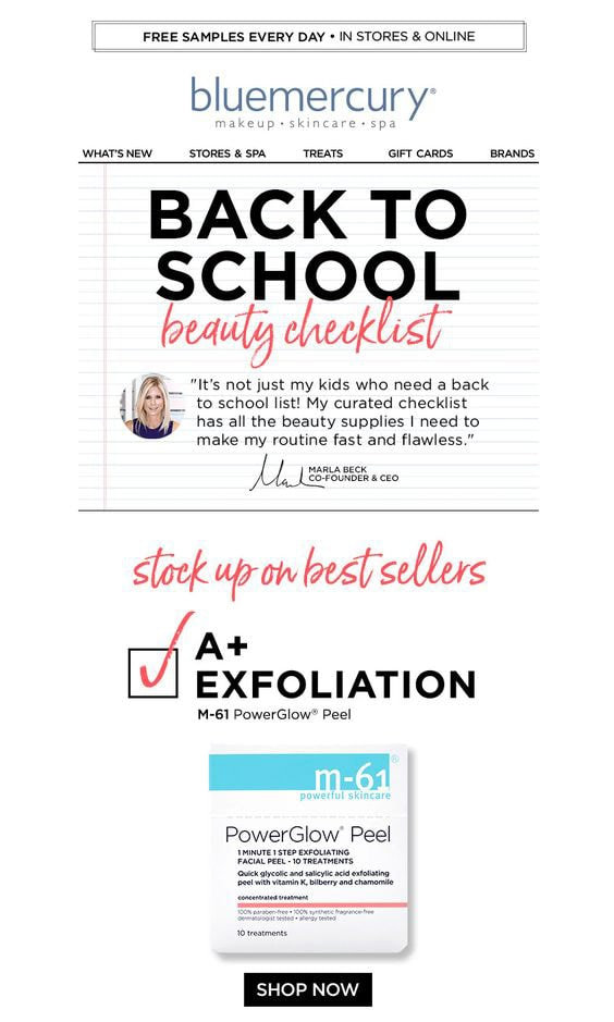 Back-to-school Email Example from Bluemercury