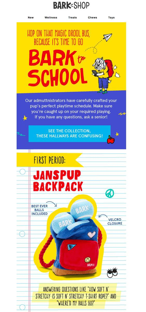 Back-to-school Email Example from Bark Shop