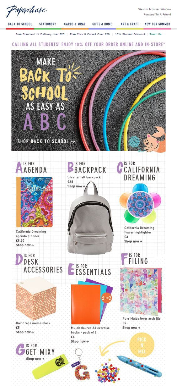 Back-to-school Email Example from Paperchase