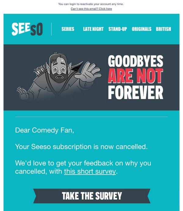 Win-Back Email Example from Seeso