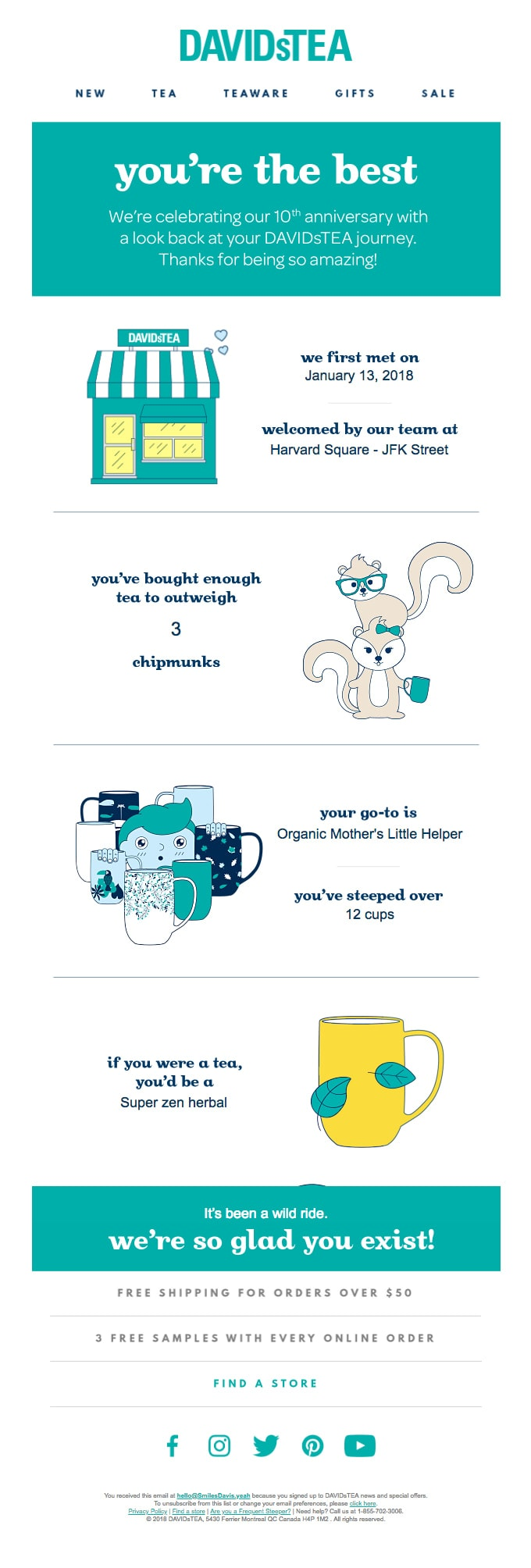 Thank You Email from DavidsTea