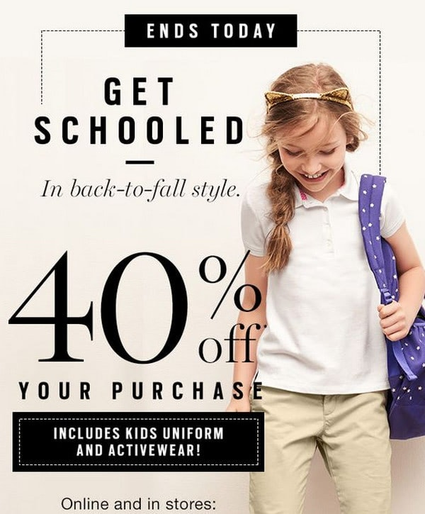 Back-to-School Email Example from Gap