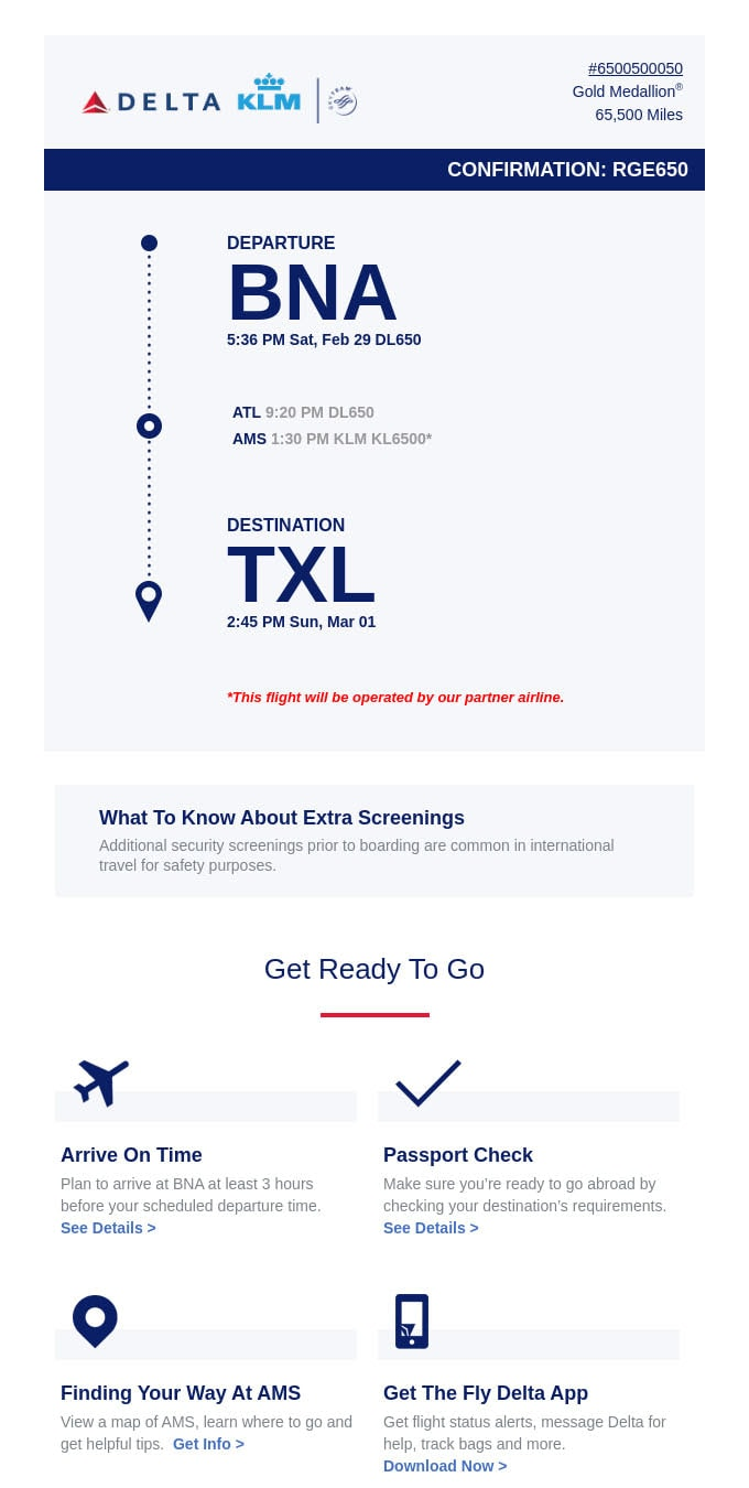 Confirmation Email Example from Delta