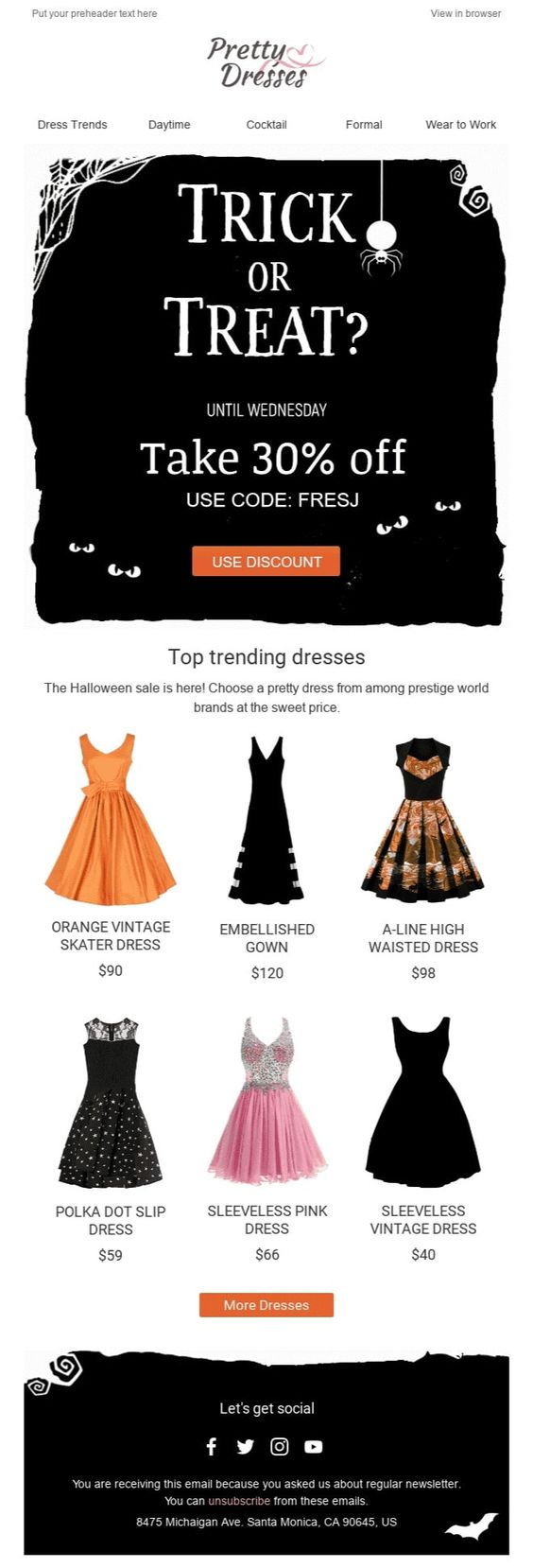 Halloween Email from Pretty Dresses
