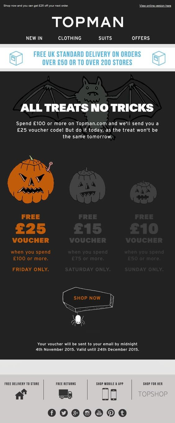 Halloween Email from Topman