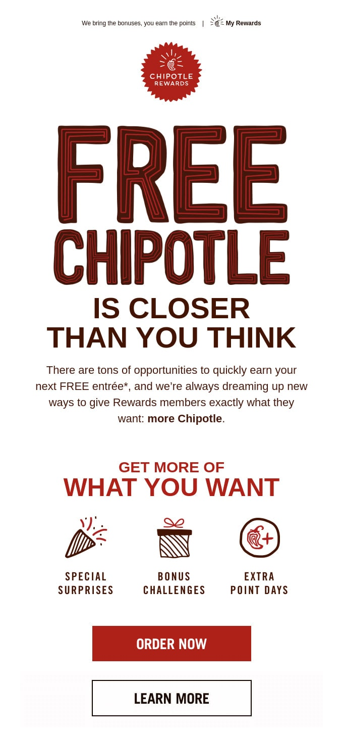 Email Newsletter from Chipotle