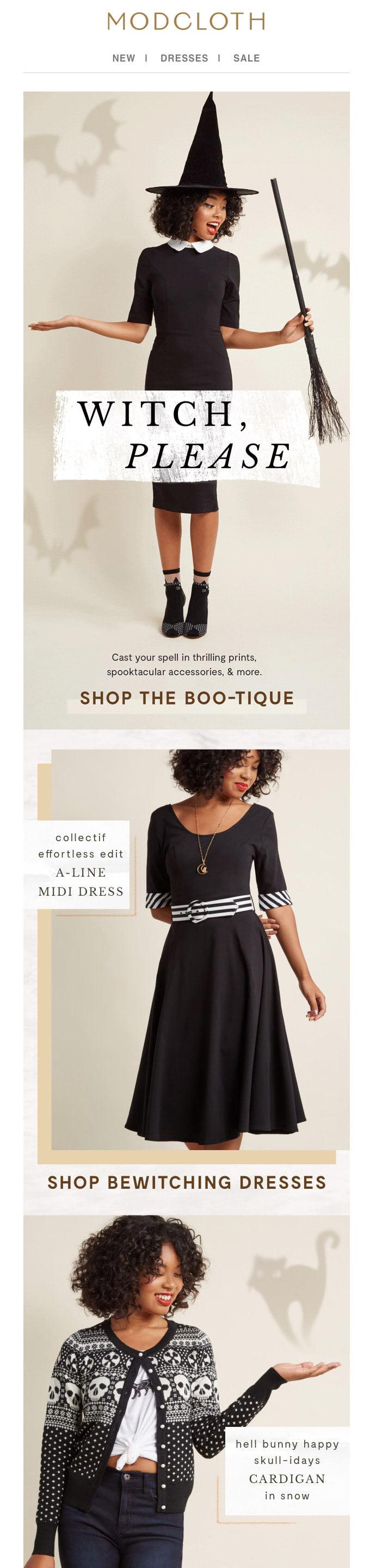 Halloween newsletter from ModCloth
