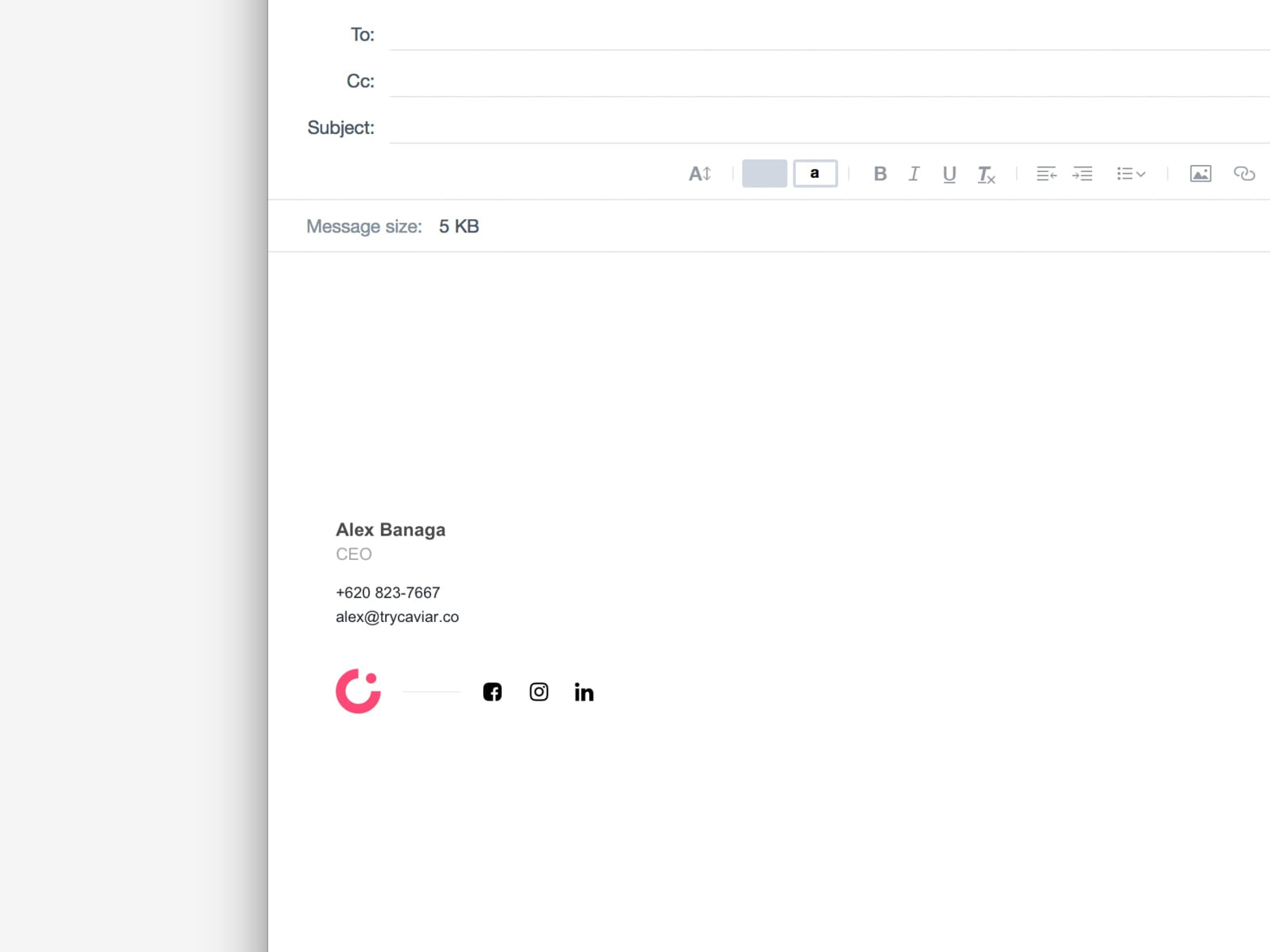 Caviar Email Signature Preview by Alex Banaga