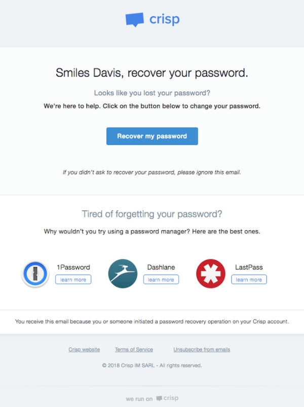 Password Reset Email Example from Crisp