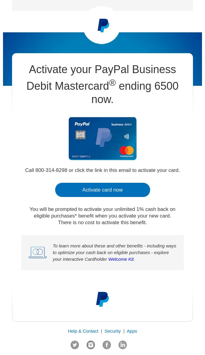 Reminder Email Example from PayPal