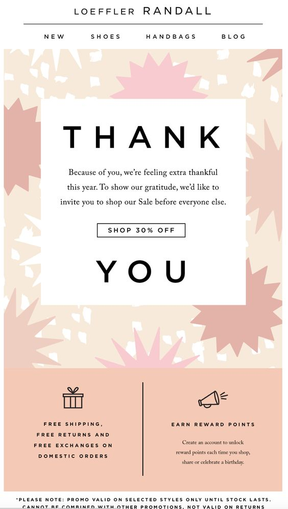 Customer Appreciation Email Example from Loeffler Randall