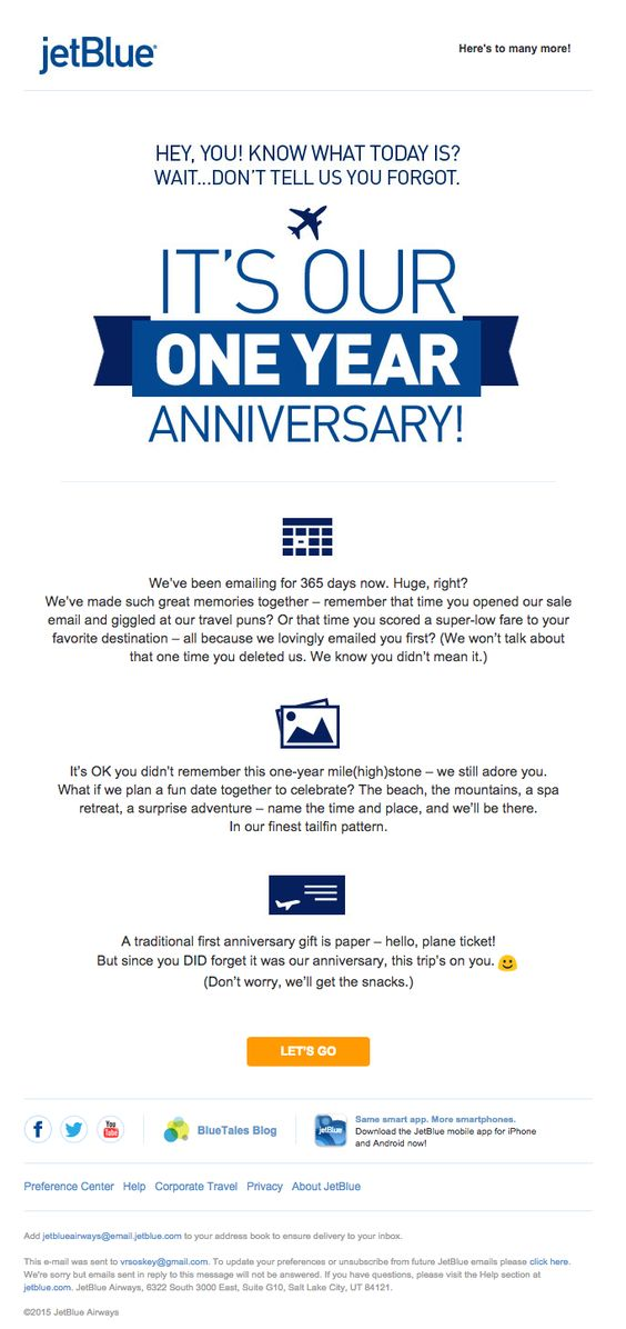 Anniversary Emails