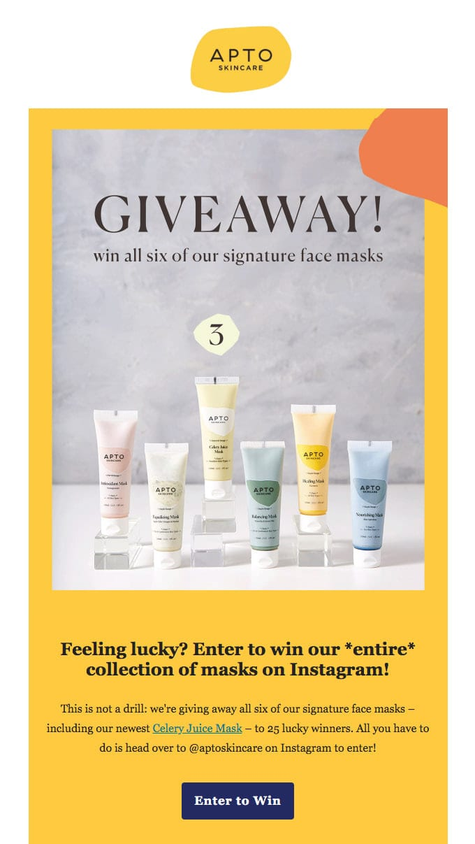 Giveaway Newsletter Example from APTO Skincare
