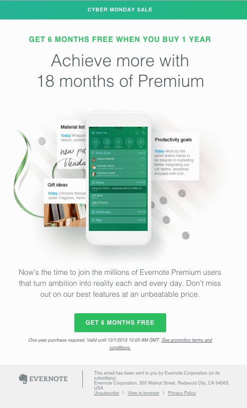 Promotion email from Evernote
