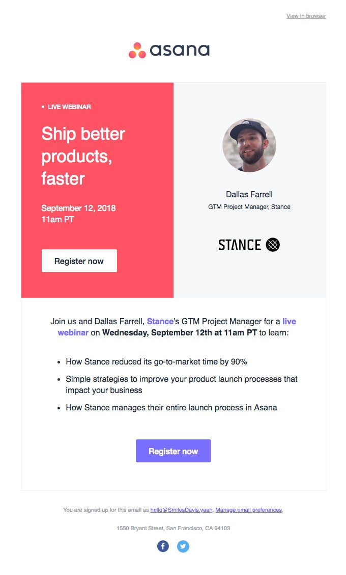 Event Invitation Email Example from Asana
