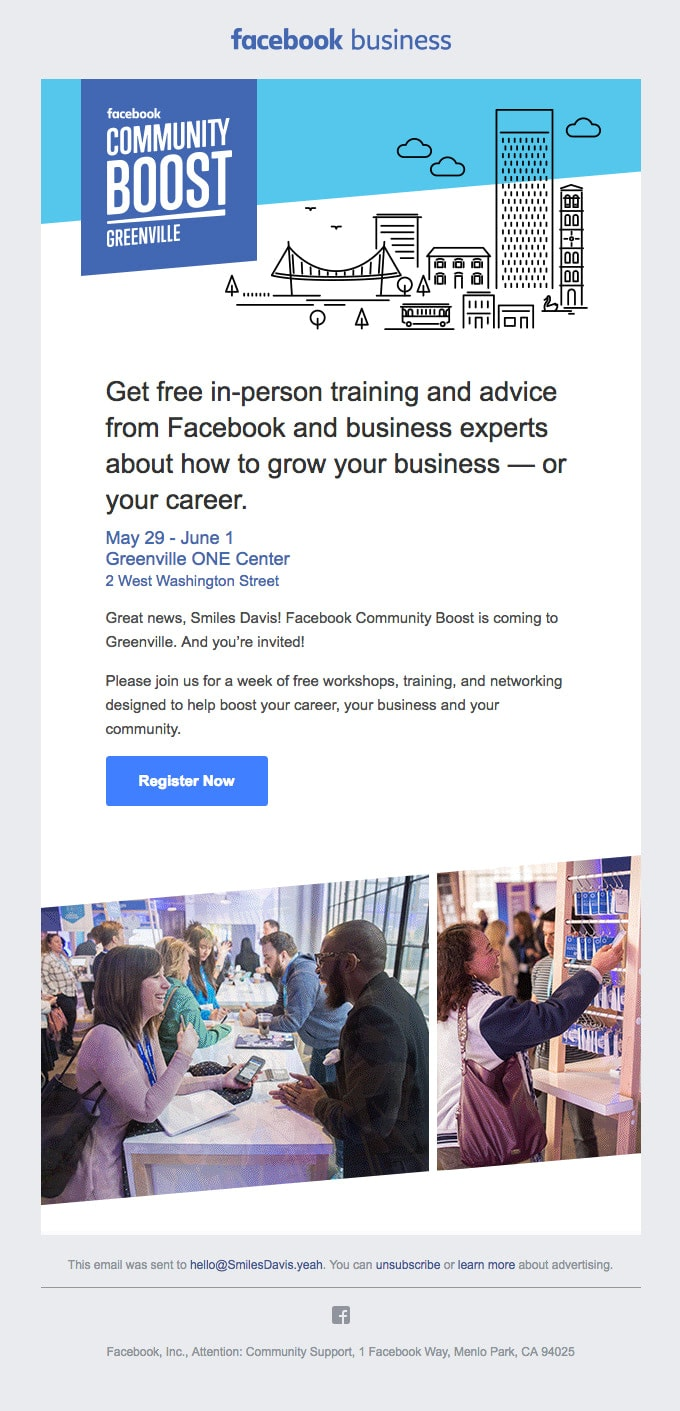 Event Invitation Email Example from Facebook