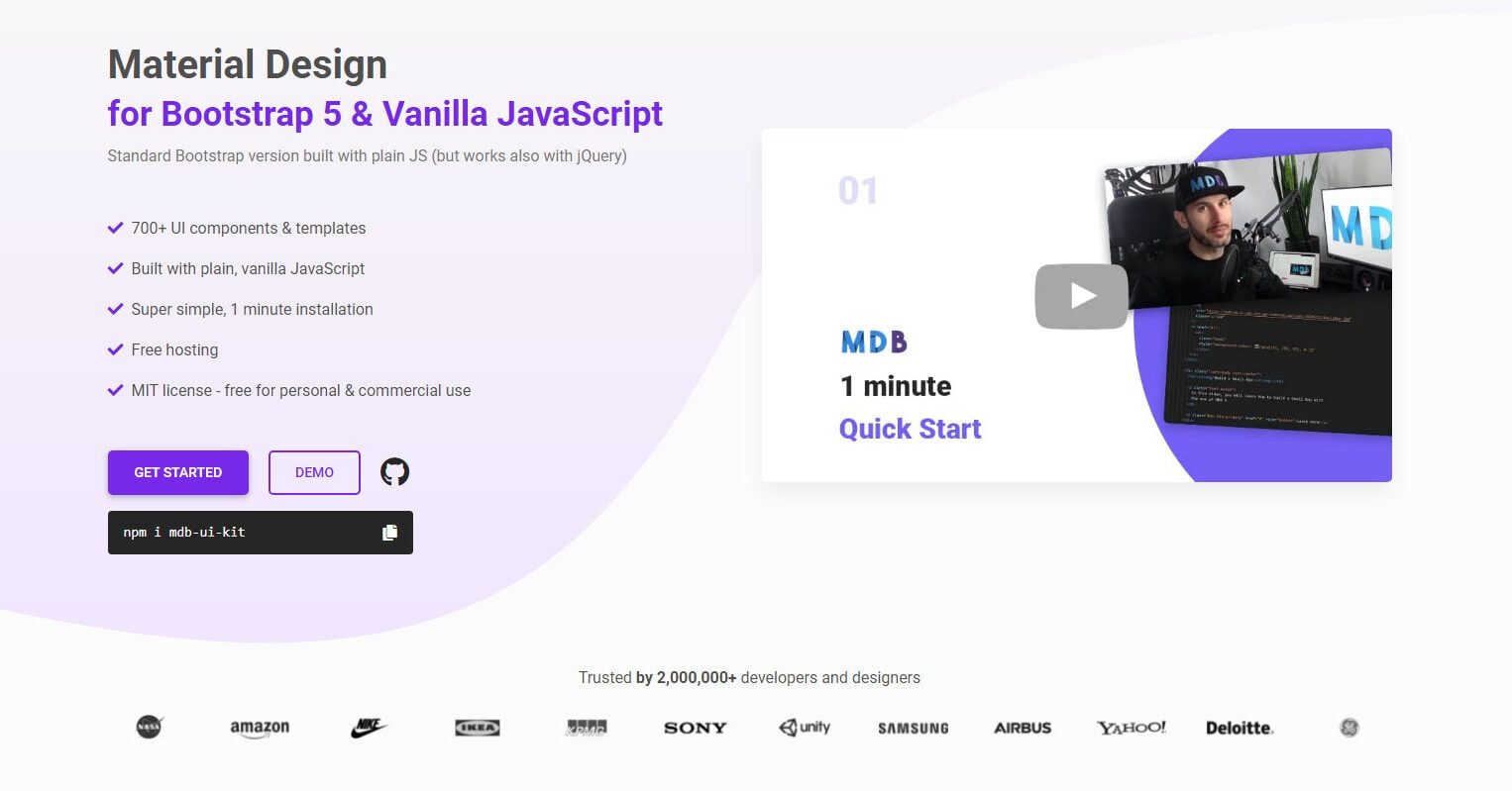 Material Design for Bootstrap 5 & Vanilla JavaScript