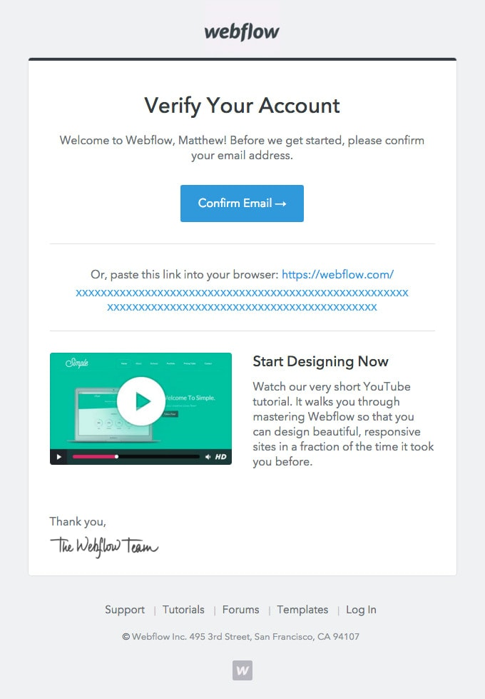 Verification Email Example from Webflow