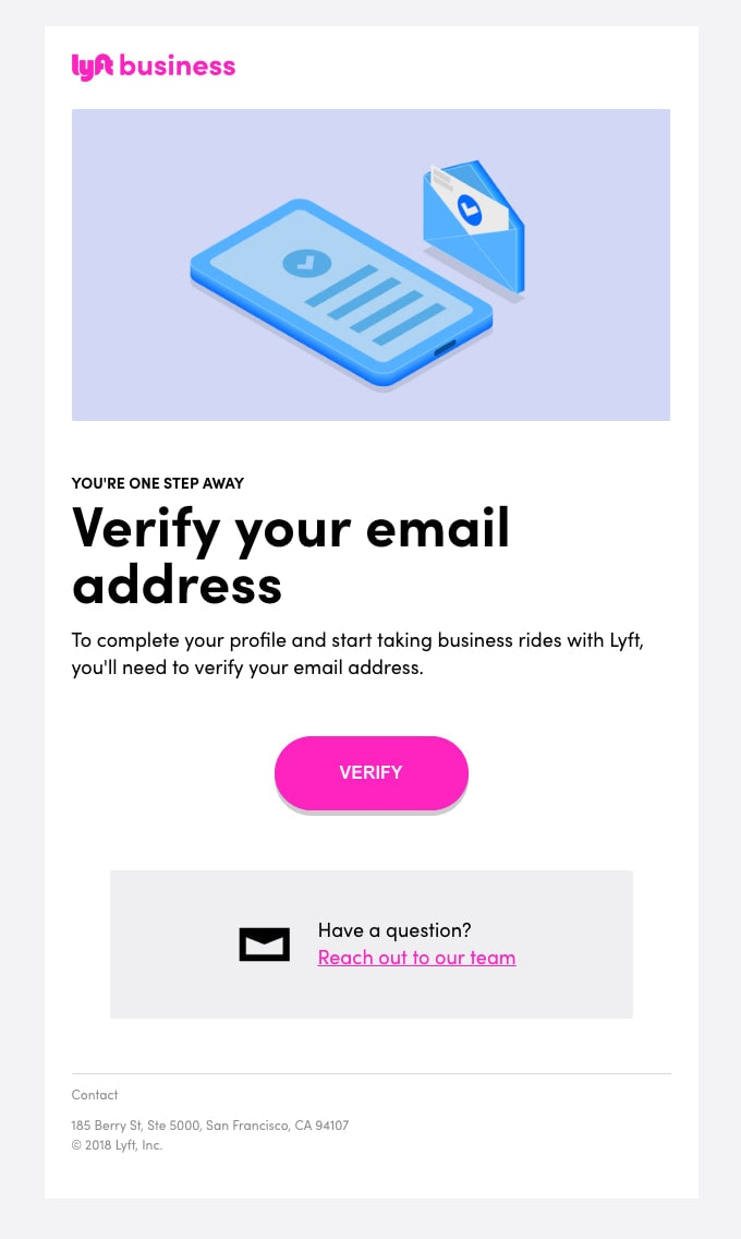 Verification Email Example from Lyft