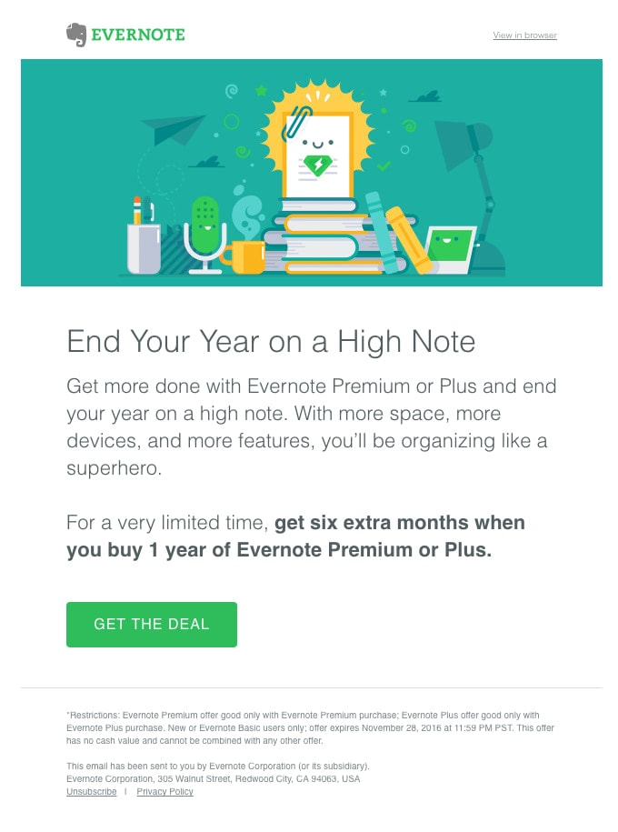 Upselling Email Example from Evernote
