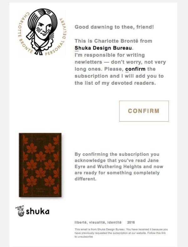 Subscription Confirmation Newsletter Example from Shuka Design Bureau