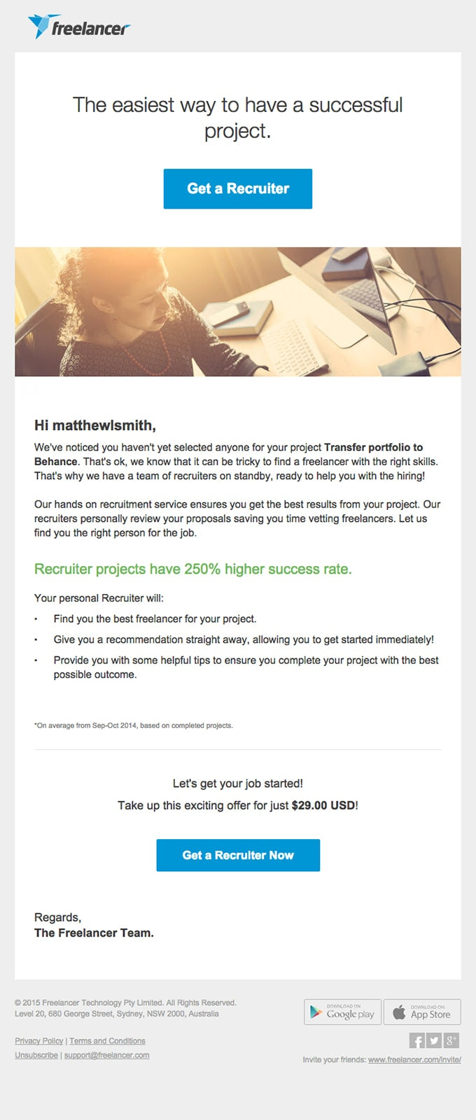 Upselling Email Example from Freelancer