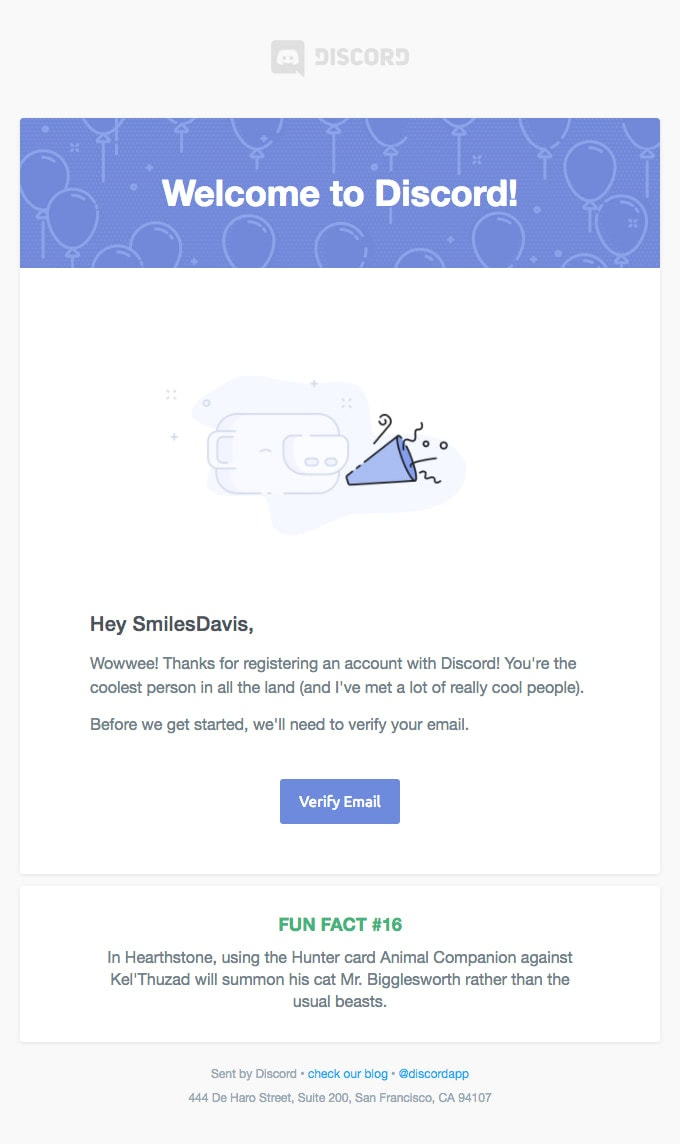 Subscription Confirmation Newsletter from Discord