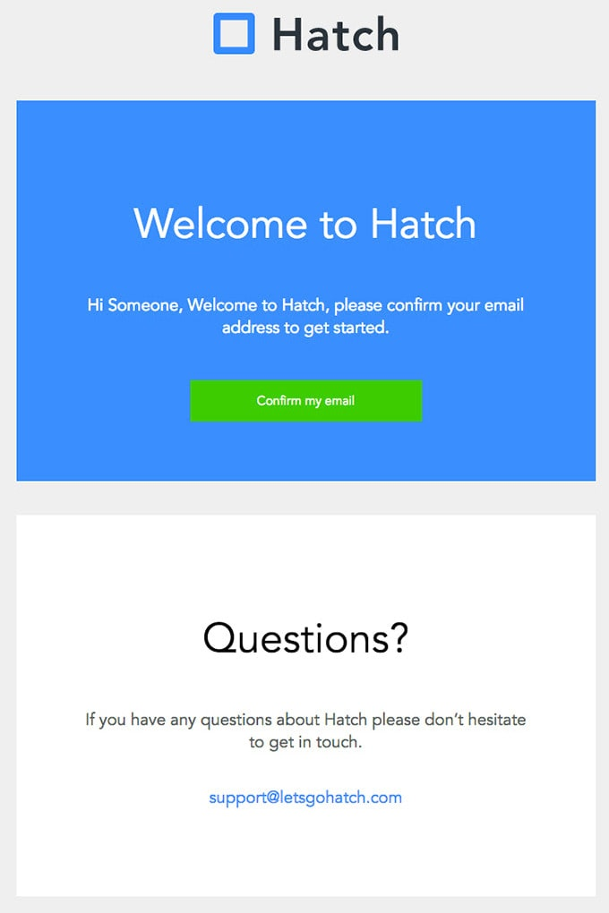 Subscription Confirmation Newsletter from Hatch