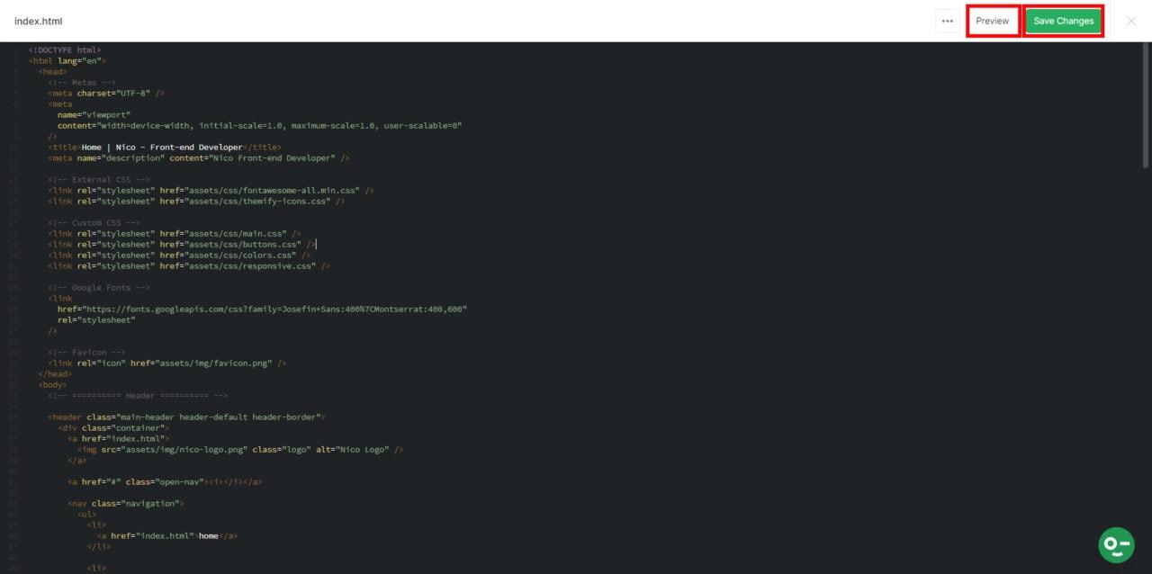 Code editor screen