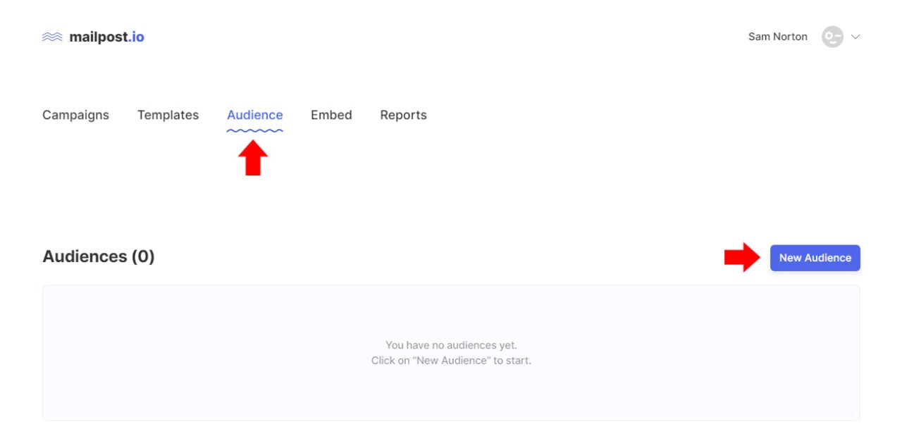 Creating an Audience Group in Mailpost.io